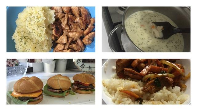 pui la wok cu piure de cartofi, ciorbă rădăuțeană, burger și pui cu legume la wok și orez