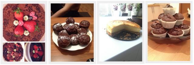 cheesecake de Paște fără coacere, brioșe cu ciocolată neagră, cheesecake copt și brioșe cu cacao